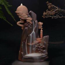 "Multi-Color Ceramic Backflow Incense Holder ""Chasing The Moon"" Free Cones"