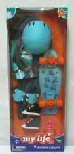 "My Life Skateboard Play Set Fits 18"" boy Logan or girl doll pads helmet NIB NEW"