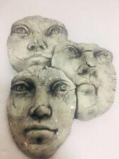 Modern Art Three Faces bust sculpture Ceramic Unique Handmade decor By Ritter