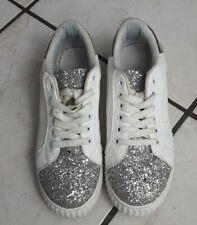 scarpe bianche donna sneakers bianche glitter sportive  bianche e argento comode