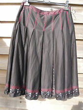 LINEA BLACK PLEATED SKIRT EMBROIDERED SEQUINS BEADS 100% COTTON SIZE 12 NEW