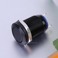 12mm Waterproof Flat Latching Push Button Black Momentary Power Switch Round Top