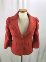 The LIMITED Women's Red Wool Blend 3/4 Sleeve Blazer Jacket Size XS