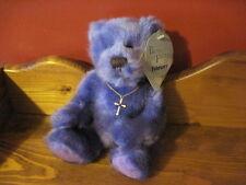 """NWT HTF 8"""" Applause BEARS of FAITH February GERALD Plush Bear CROSS NECKLACE"""