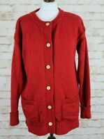 WOOLOVERS Red Button Up Jumper Cardigan Size L