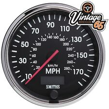 Smiths Oldtimer 100mm 0-140 MPH Tacho mit Chrom Blende Rennen Rally Satz