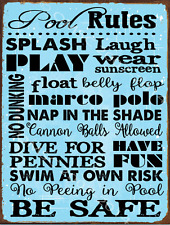 Pool Rules Metal Sign, Motivational Rules, Swimming Pool Sign, Positive Thinking