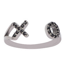 """Black Spinel Gemstone 925 Silver Stackable Women Party Open Wrap Band """"XO"""" Ring"""