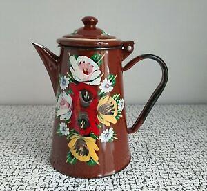60s 70s Vintage Retro Brown Hand Painted Floral Enamel Tin Coffee Pot Habitat