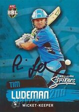 ✺Signed✺ 2015 2016 ADELAIDE STRIKERS Cricket Card TIM LUDEMAN Big Bash League