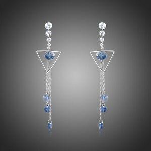 Retirement Gift GEOMETRIC BLUE LONG DROP EARRINGS KHAISTA