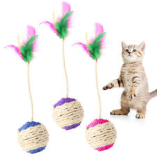 Pet Toy Cat Kitten Rolling Scratching Ball Tumbler Interactive Doll With Feather