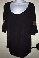 Diana Belle Black Stretch Embroidered Top Tunic Shirt Blouse Size XL SLINKY EUC
