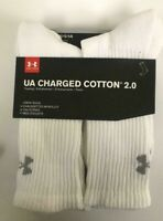 New Under Armour Charged Cotton 2.0 White Crew Socks - U322 - 6 Pack