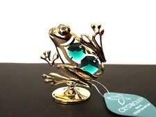 Gold Plated Frog Ornament Made with Genuine STRASS Swarovski Crystal Gift