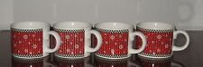 Set of 4 DEBBIE MUMM SAKURA 1998 Penguins Holiday ❤ Christmas Coffee Mugs ❤ Cups