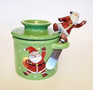 Original Butter Bell Limited Edition Holiday Christmas Crock w Santa Spreader