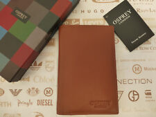 OSPREY Card Holder Booklet Style Tan ALDER Tall Travel Leather Wallet Box RRP£65