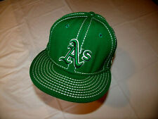 Oakland A's All Green Hat/White Stitching New Era 59Fifty 100% Wool Fitted 7 3/8