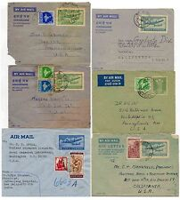 INDIA AIRLETTERS STATIONERY to USA 6 ITEMS