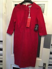 Pure Collection red evening party Christmas dress size 12 stretch shift ponte