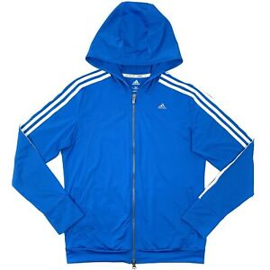 Adidas Lightweight Hooded Track Jacket Climacool Blue Women's Size M