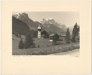 1930s Jacques Naegeli Gstaad Swiss Mountain Landscape with Wooden Church Photo