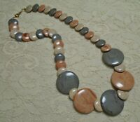 CHUNKY MULTI COLOR BROWN & GRAY FLAT DISK LUCITE BEADED NECKLACE 20 INCH