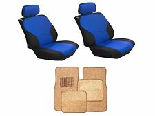 Blue & Black Seat Covers with Taupe Carpet floor Mats for Cars SUVS- 8Pc Combo