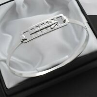 Vintage Solid 925 Sterling Silver Mackintosh Design Bangle Bracelet