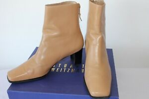 STUART WEITZMAN for RussellBromley ZIP FLEX ANKLE BOOTS CARAMEL LEATHER SIZE 5.5
