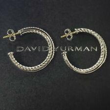 David Yurman Sterling Silver Crossover Hoop Earrings Diamonds 31mm