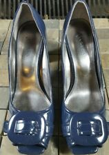 """Nickels Women Blue Patent Leather Buckle Peep Toe 3"""" Size 8.5M Too Cute!"""