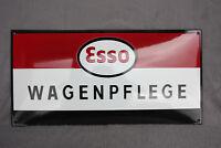 Esso Wagenpflege Schild Enamel sign Emailschild ECHTE Emaille TOP 30 x 60 cm