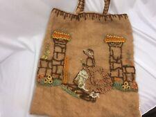 Vintage Wool Embroidery Handbag Crewel Applique 1940s 26538