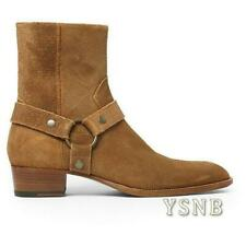 Cuban Mens Suede Ankle Boots Heel Gladiator Cowboy Chukka High Top Shoes Size uk