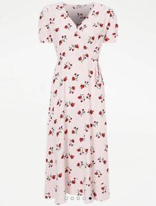 George Bnwt Pale Pink Floral Print Wrap Midi Dress Size 12