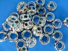 20pcs multiple color Rhinestone Crystal Loose Big Hole Spacer Charm Bead