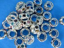 20pcs multiple color Rhinestone Crystal Loose Big Hole Spacer Charm Bead