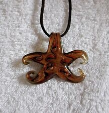 Pretty GOLD SHIMMERY Murano GLASS STARFISH Adjustable NECKLACE