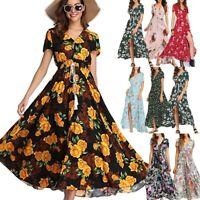 Women Floral Button Up Split Flowy Evening Party Beach Bohemia Maxi Dress LIU-