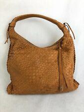 ABRO, Ladies Brown Tan Leather Weaved Zipped Handbag w/Tassel, RRP £340