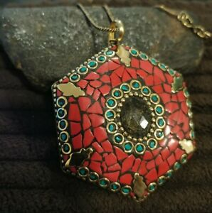 """Tribal NEPALI Mosaic stone pendant 2.5"""" Coral Labradorite brass w/ 20"""" chain"""