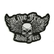 Ecusson LIVE FREE RIDE FREE ailes skull wings bikers Patch Parche Toppa Aufnäher