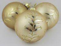 GISELA GRAHAM CHRISTMAS GOLD GLASS BAUBLE WITH GLITTER TWIG BERRY DECORATION X 3