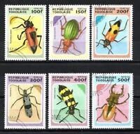 Insectos Togo (28) serie completo de 6 sellos matasellados