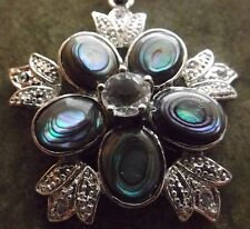 ABALONE SHELL FLOWER SILVER METAL PENDANT CLEAR CRYSTALS 39 MM