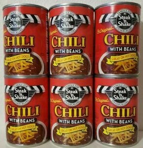 Steak 'n Shake Chili with Beans 6 Cans 10 oz each