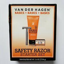 Van Der Hagen New Safety Razor Shave Set 10 Pack Blades Shave Butter Kit Starter