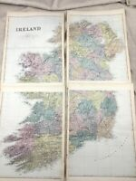 1891 Antique Map of Ireland Eire Irish Old Original 19th Century Maps